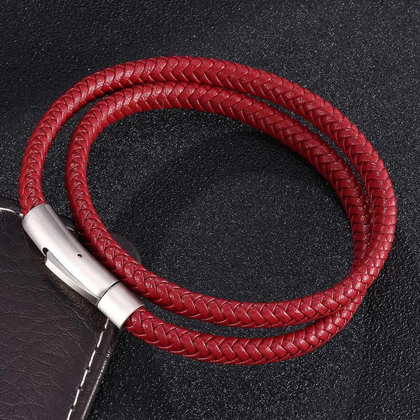 Silver Clasp Woven Leather Rope Bracelet - Red-Clickmylife