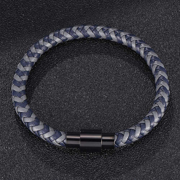 Single Strand Braided Leather Rope Bracelet - Grey & Blue-Clickmylife