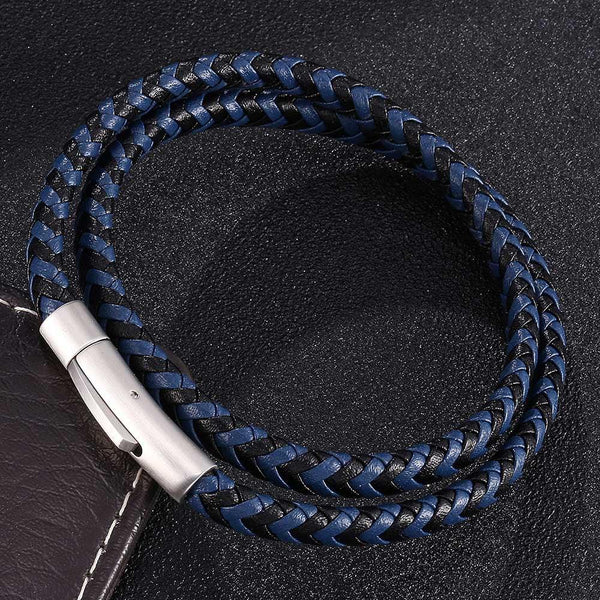 Silver Clasp Woven Leather Rope Bracelet - Black & Blue-Clickmylife