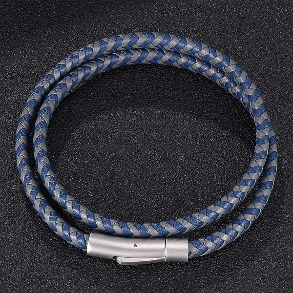 Silver Clasp Woven Leather Rope Bracelet - Grey & Blue-Clickmylife