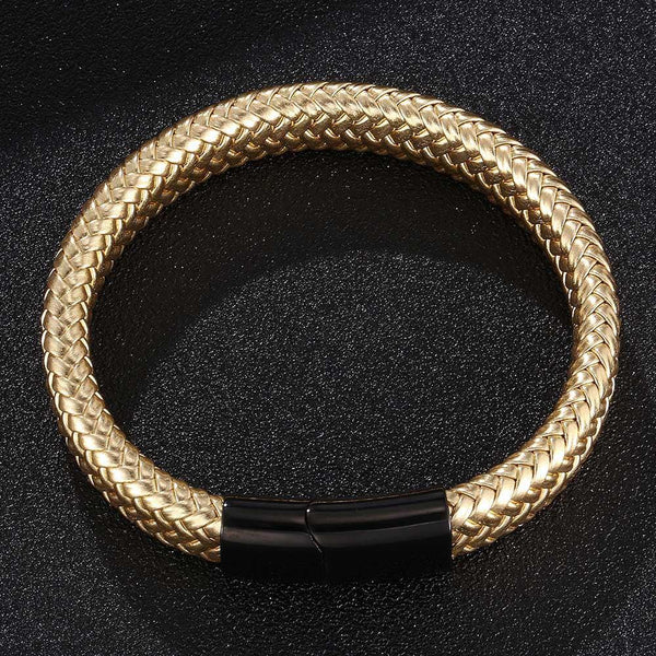 Single Braided Leather Bracelet - Gold-Clickmylife