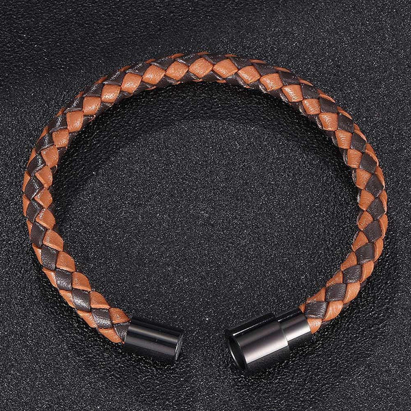 Single Strand Braided Leather Rope Bracelet - Black & Orange-Clickmylife