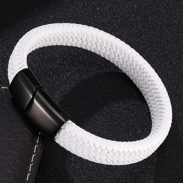 Single Braided Leather Bracelet - White-Clickmylife