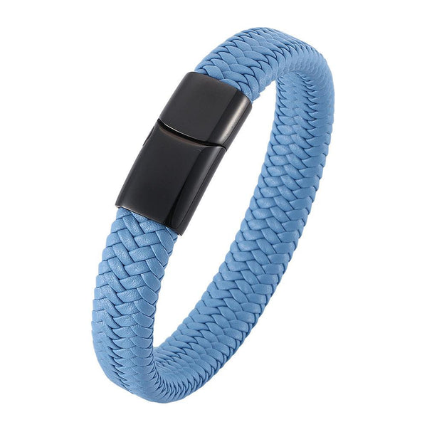 Single Braided Leather Bracelet - Lake Blue-Clickmylife
