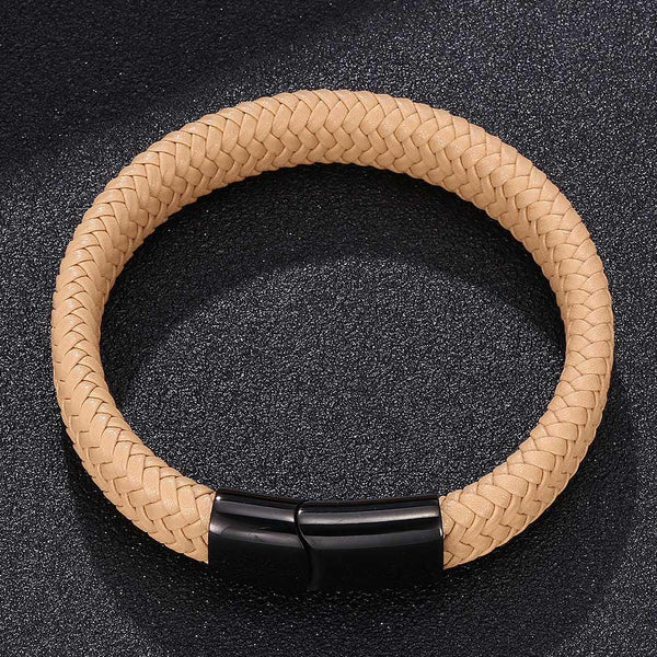 Single Braided Leather Bracelet - Yellow-Clickmylife