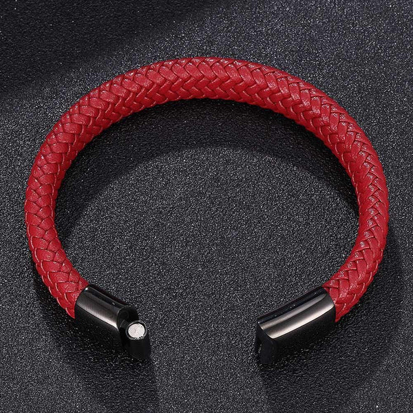 Single Braided Leather Bracelet - Red-Clickmylife