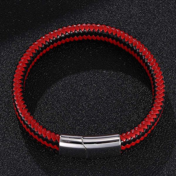 Silver Clasp Bicolor Braided Leather Bracelet - Red & Black-Clickmylife