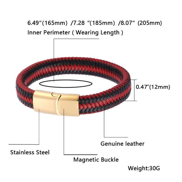 Gold Clasp Bicolor Braided Leather Bracelet - Red & Black-Clickmylife