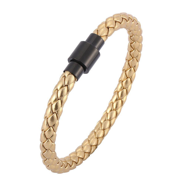 Single Strand Braided Leather Rope Bracelet - Gold-Clickmylife