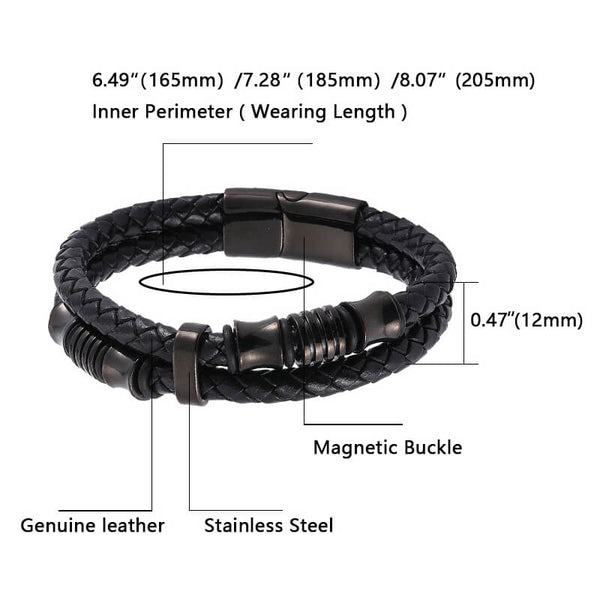 Double Leather Woven Bracelet - Black