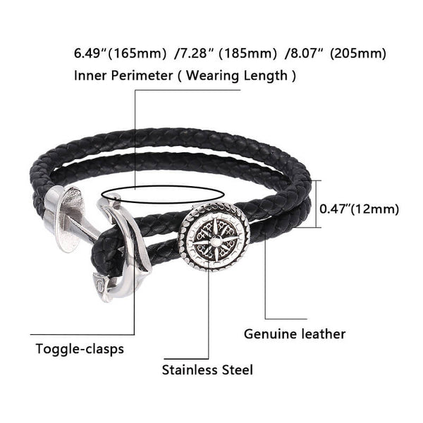 Titanium Anchor Braided Leather Bracelet - Black, Silver-Clickmylife
