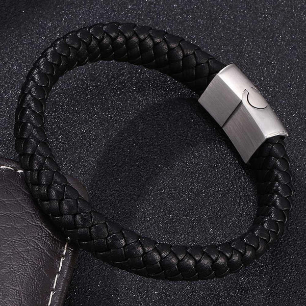 Single Leather Rope Bracelet - Black &  White