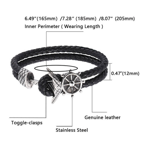 Ship Anchor Braided Leather Bracelet #2 - Black, Silver-Clickmylife