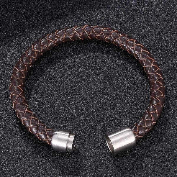 Braided Leather Bracelet - Brown-Clickmylife