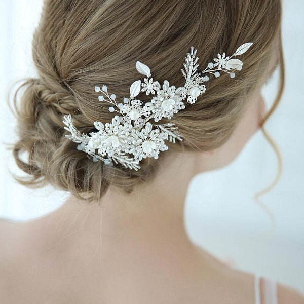 Silver Floral Wedding Hair Decoration, Handmade Crystal Bride Hair Clip for Wedding Accessories