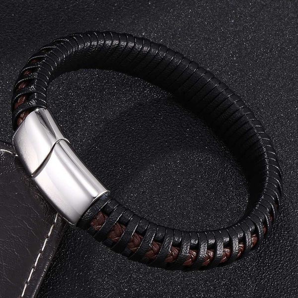 Fashion Double Braided Leather Bracelet - Black & Brown-Clickmylife