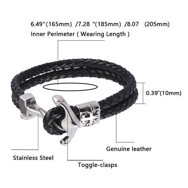 Cross Anchor Braided Leather Bracelet - Black, Silver