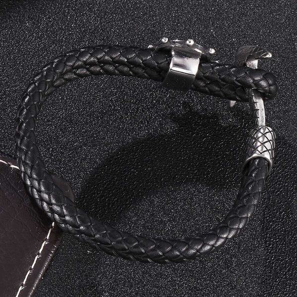 Ship Anchor Braided Leather Bracelet #2 - Black, Silver
