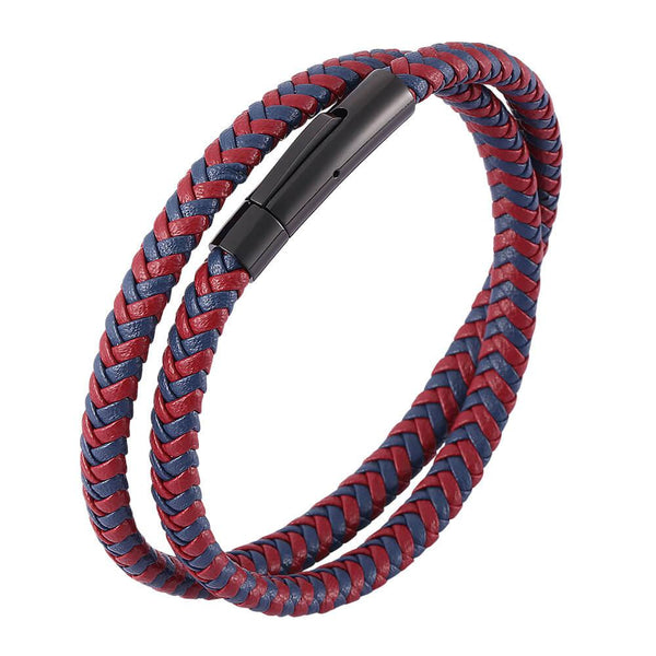 Leather Rope Bracelet - Red & Blue