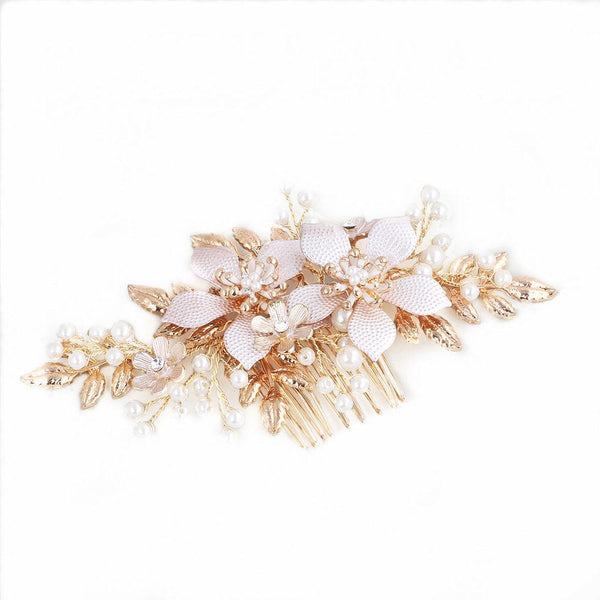 Floral Pearl Wedding Hair Decoration, Handmade Gold Bride Hair Clip for Wedding Accessories