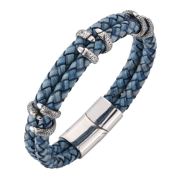 Leather Bracelet Dragon Claw - Blue-Clickmylife