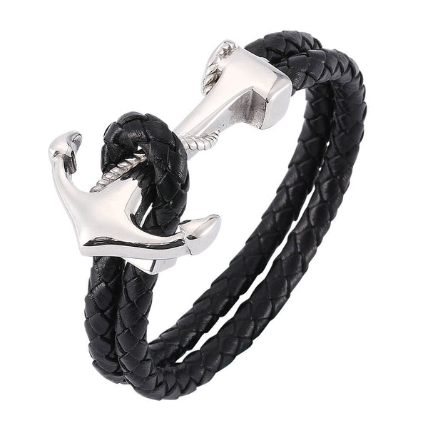 Large Anchor Braided Leather Bracelet - Black, Silver