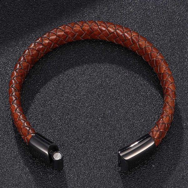 Single Leather Rope Bracelet - Brown-Clickmylife