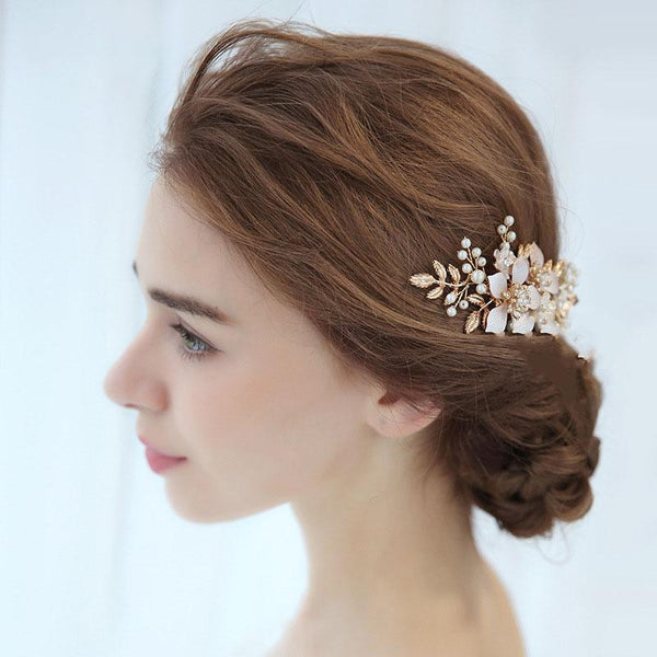 Floral Pearl Wedding Hair Decoration, Handmade Gold Bride Hair Clip for Wedding Accessories-Clickmylife