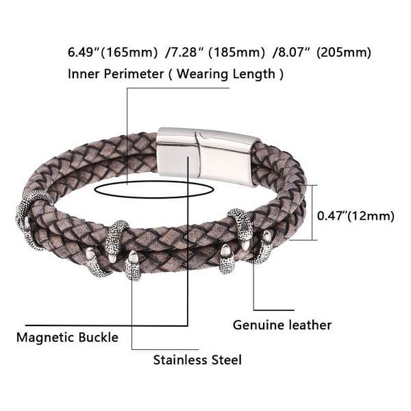 Leather Bracelet Dragon Claw - Brown-Clickmylife