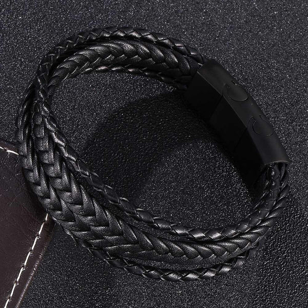 Multi-layer Men's Leather Bracelet-Clickmylife