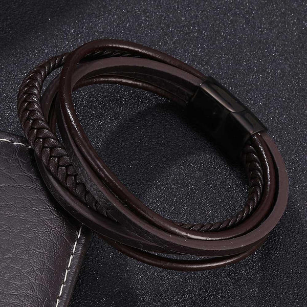 Multi-layer Men's Leather Bracelet - Woven Brown-Clickmylife