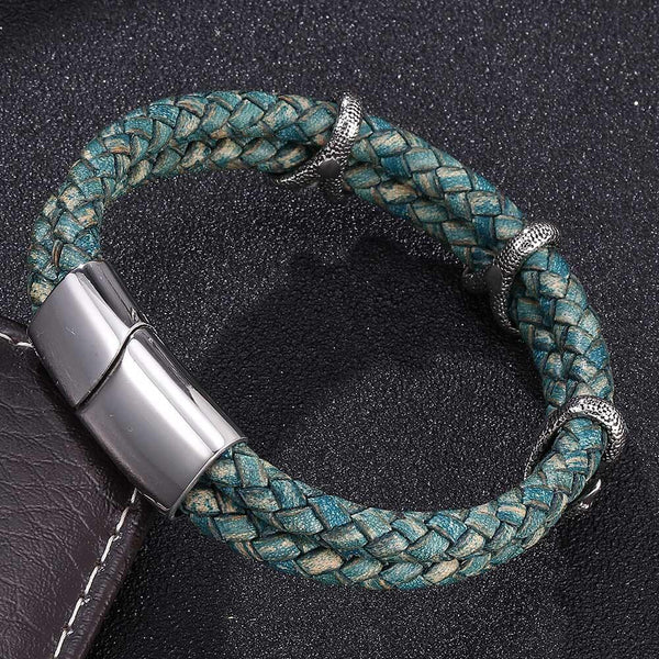 Leather Bracelet Dragon Claw - Green-Clickmylife