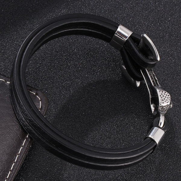 T Anchor Leather Bracelet - Black, Silver