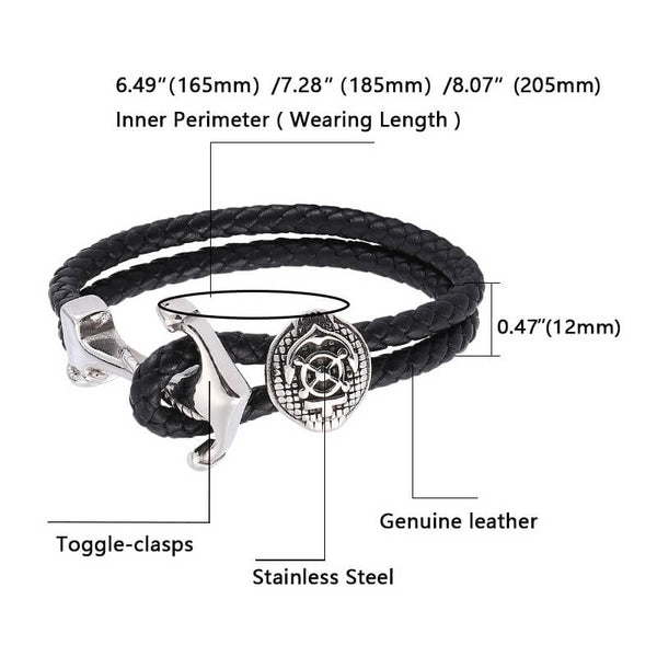 Anchor Braided Leather Bracelet - Black, Silver