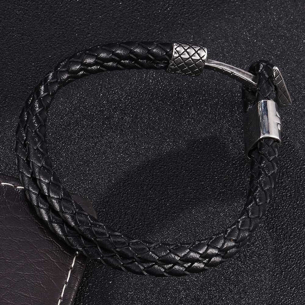 Titanium Anchor Braided Leather Rope Bracelet - Black, Silver-Clickmylife