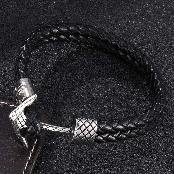 Titanium Anchor Braided Leather Rope Bracelet - Black, Silver