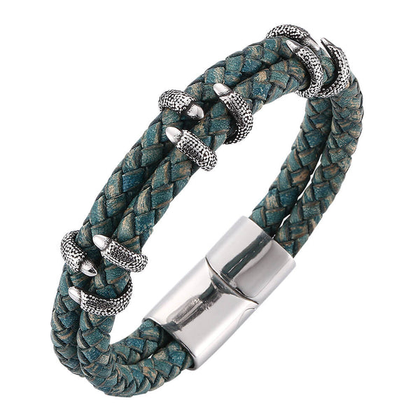 Leather Bracelet Dragon Claw - Green