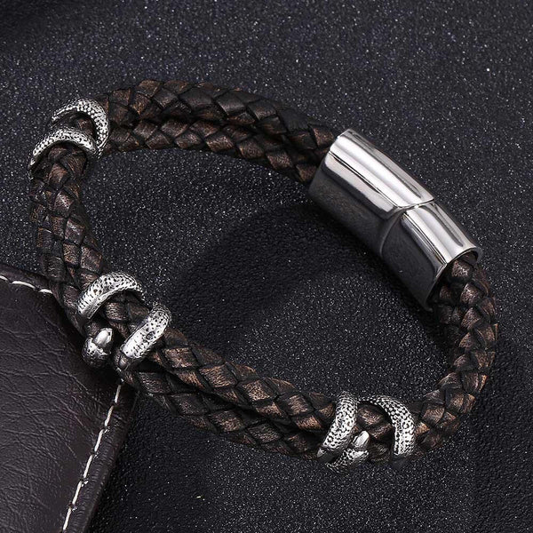 Leather Bracelet Dragon Claw - Black