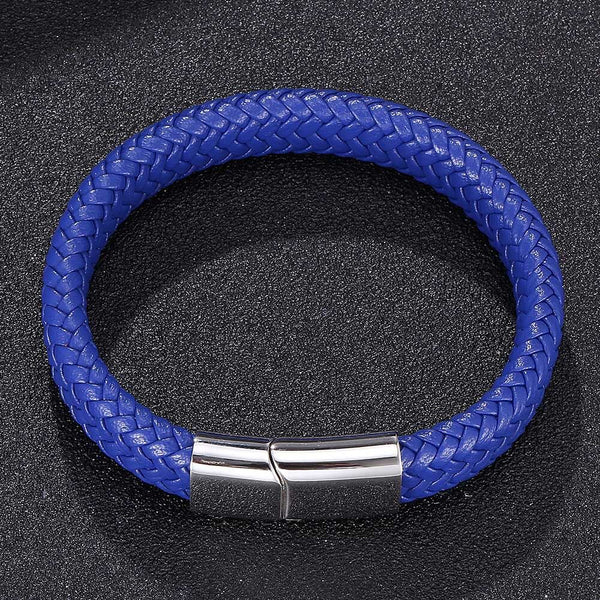 Single Leather Rope Bracelet - Blue-Clickmylife