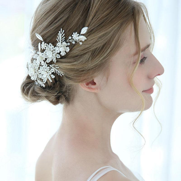 Silver Floral Wedding Hair Decoration, Handmade Crystal Bride Hair Clip for Wedding Accessories-Clickmylife