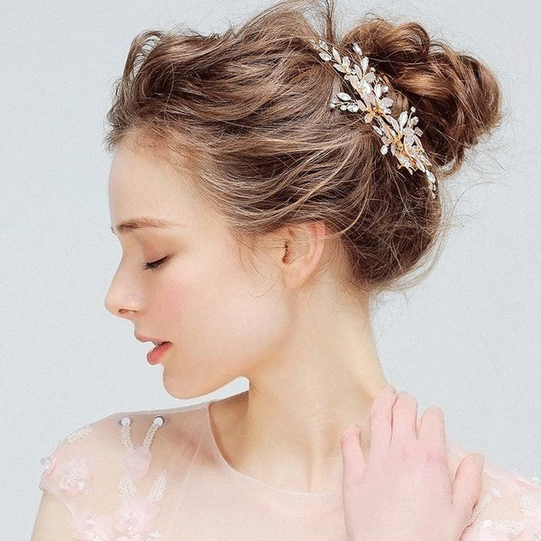 Floral Wedding Hair Decoration, Handmade Crystal Bride Hair Clip for Wedding Accessories