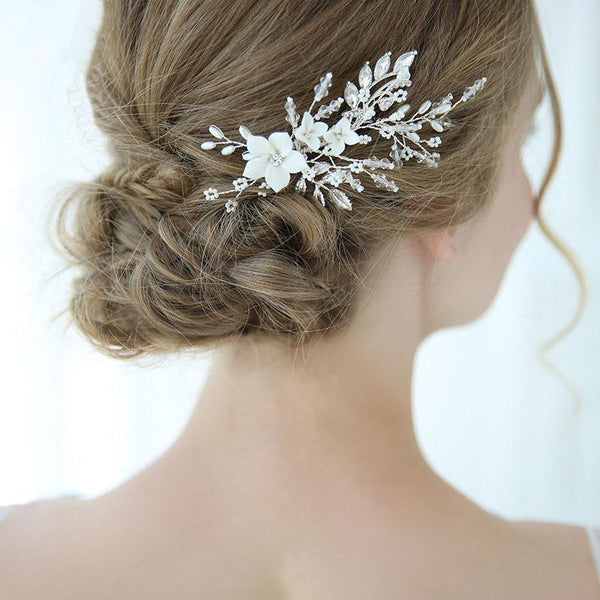 Floral Pearl Wedding Hair Decoration, Handmade Silver Leaves Bride Hair Clip for Wedding Accessories-Clickmylife