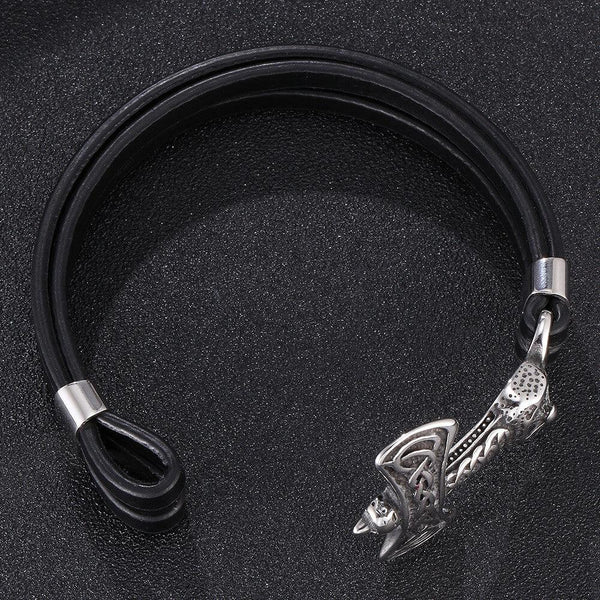 T Anchor Leather Bracelet - Black, Silver-Clickmylife