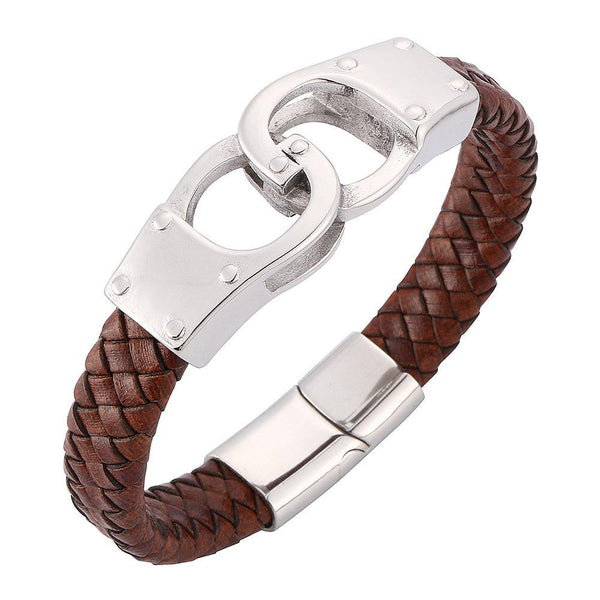 Silver Clasp Handcuffs Braided Leather Bracelet - Brown-Clickmylife
