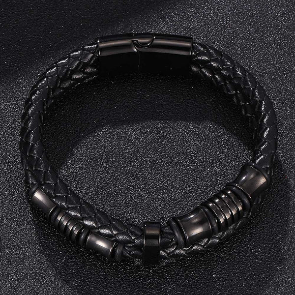 Double Leather Woven Bracelet - Black-Clickmylife