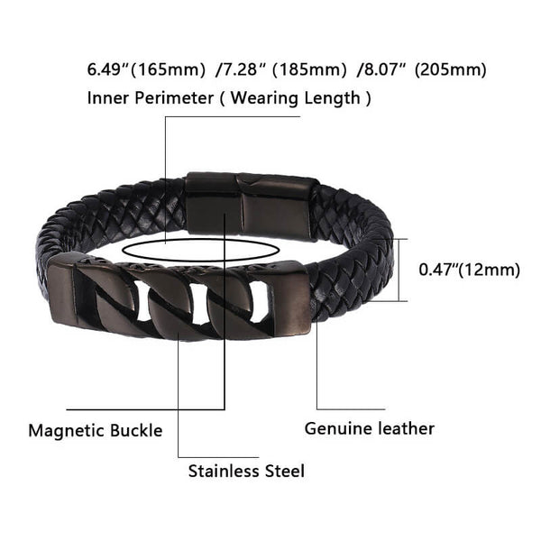 Classic Leather Titanium Steel Bracelet - Infinite