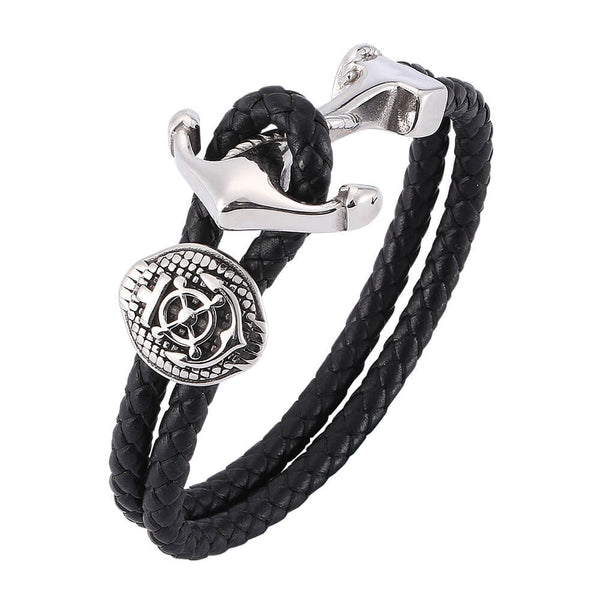 Anchor Braided Leather Bracelet - Black, Silver-Clickmylife