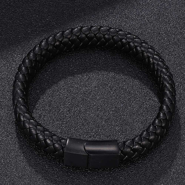 Single Leather Rope Bracelet - Black-Clickmylife
