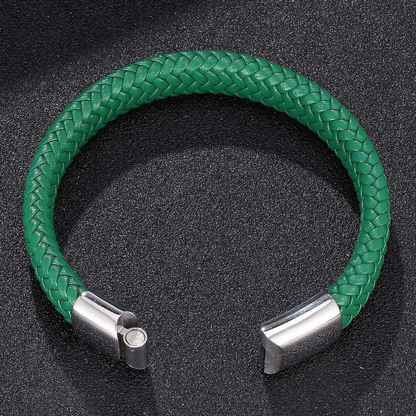 Single Leather Rope Bracelet - Green-Clickmylife