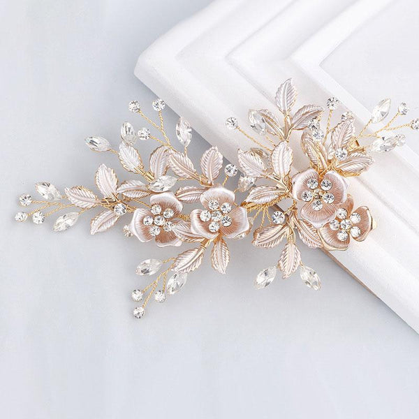 Floral Wedding Hair Decoration, Handmade Crystal Bride Hair Clip for Wedding Accessories-Clickmylife